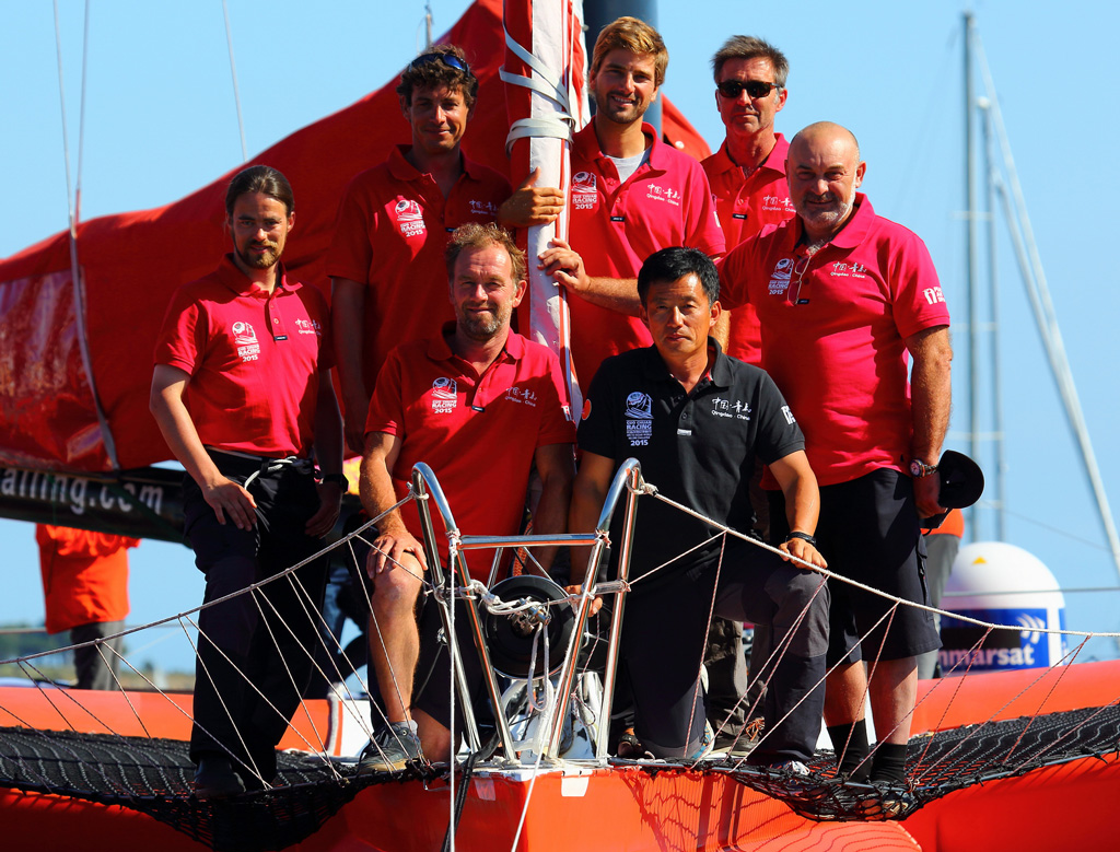 The Chinese sailor Guo Chuan at La Trinité-sur-Mer –  he plans to set a record through the North East Passage on the giant trimaran Qingdao China